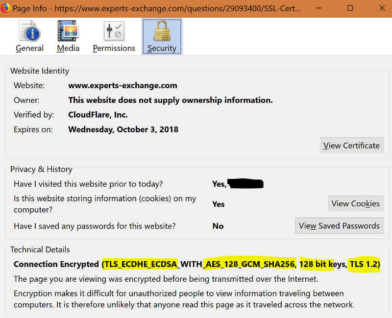 SSL Cert details