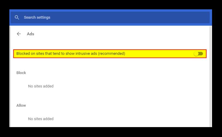 Disable Chrome Adblocker
