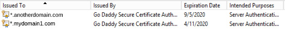 Here are the certificates installed on the server. Note the difference in expiration dates.