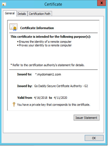 Just for confirmation, I open the cert to see its details. Sure enough, it's issued to *.mydomain1.com.