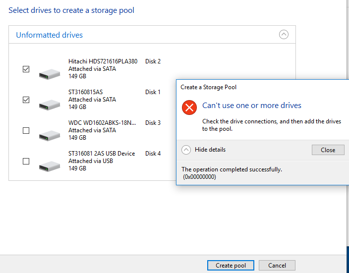 Storage Space - Create Pool Failure