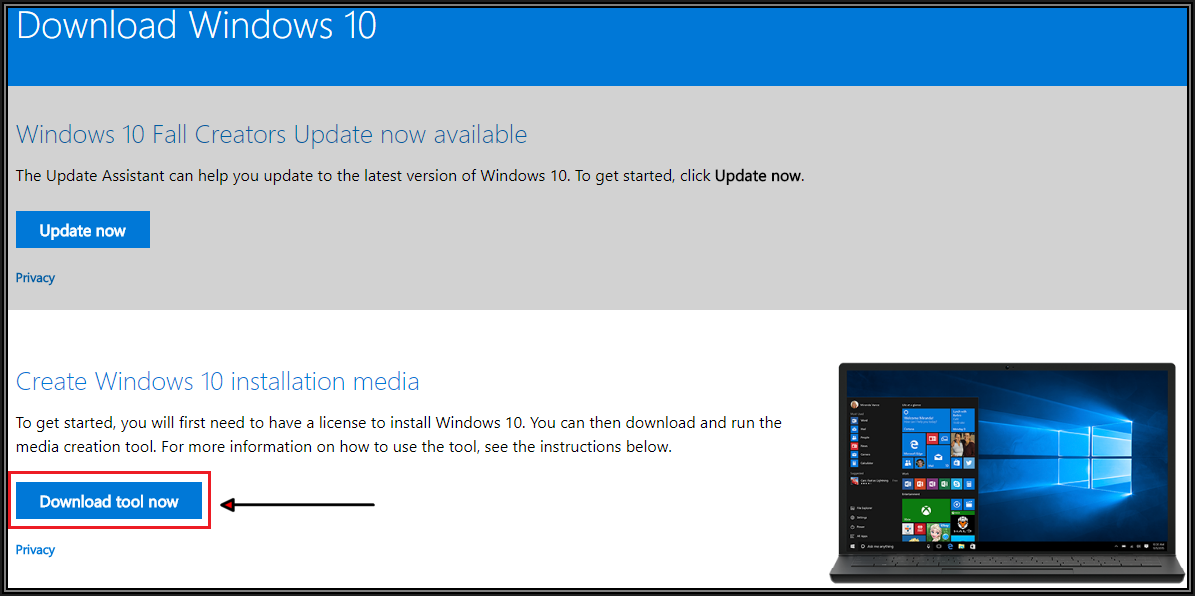 Screenshot of Microsoft Web Page showing Download Tool Now button