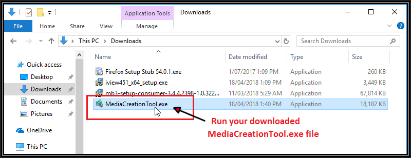 Screenshot showing Media Creation Tool dot exe to to run by double clicking