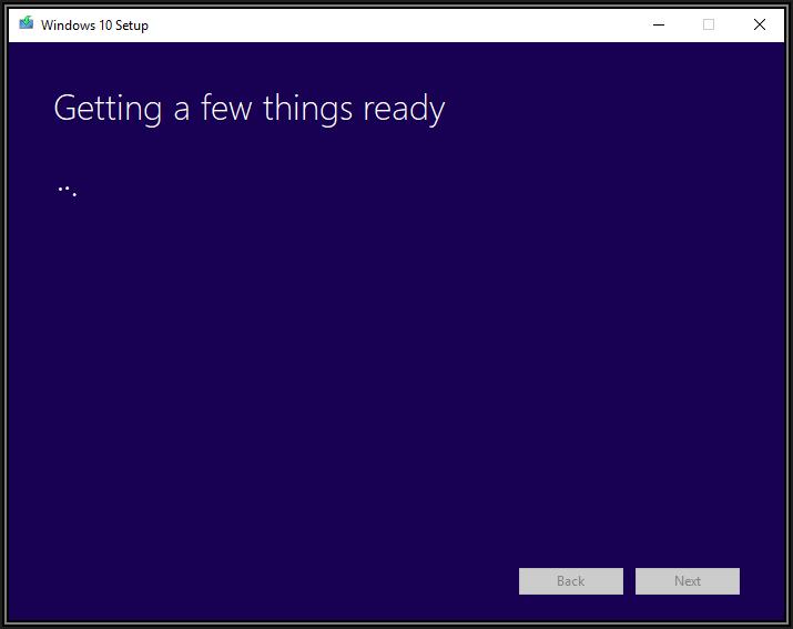 Screenshot of Windows 10 Setup box showing Getting a few things ready