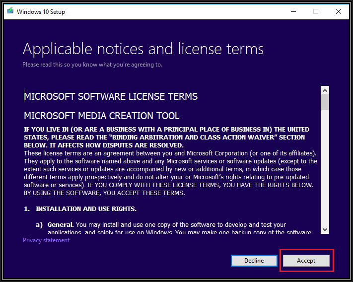 Screenshot of Microsoft Software License Terms showing a Decline and Accept button