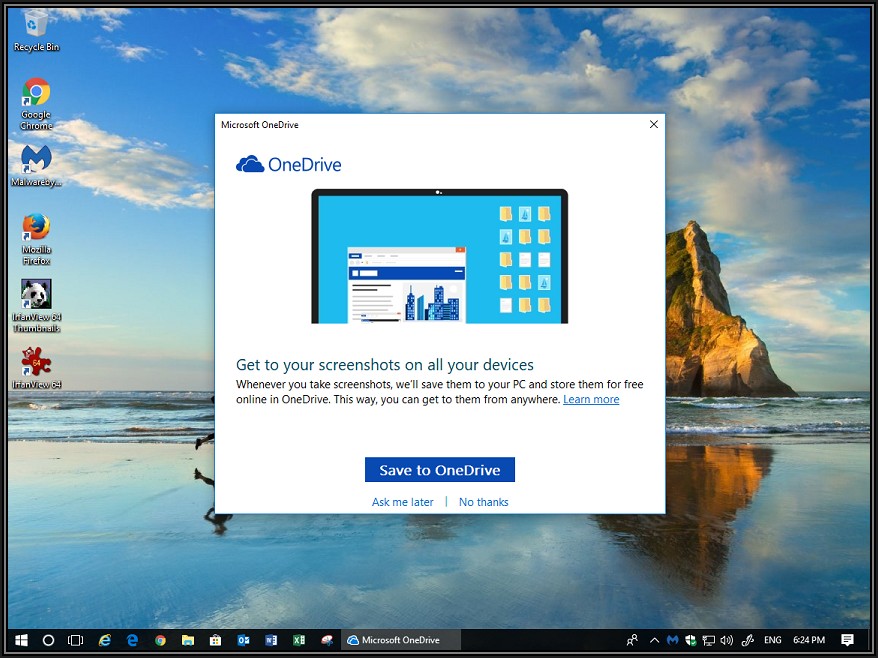 Screenshot of authors desktop with Microsoft OneDrive dialog box asking to Save to OneDrive or Ask me later