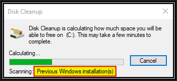 Screenshot of Disk Cleanup for C showing calculation progress