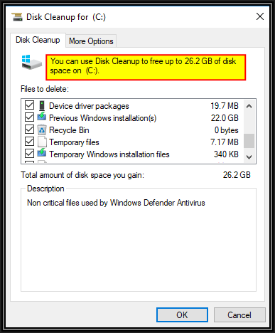 Screenshot of Disk Cleanup for C box showing amount of space that can now be cleaned up. An OK and Cancel button is available for clicking