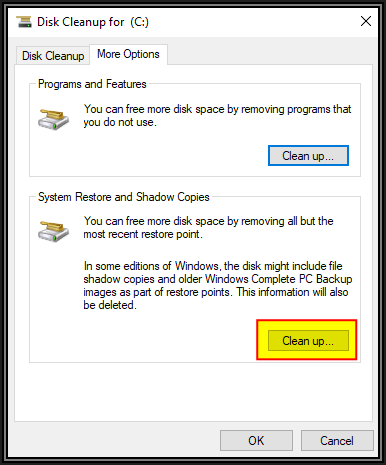 Screenshot of Disk Cleanup for C, More Options tab. Two options. Clean up button for Programs and Features. Clean up button for System Restore and Shadow Copies. The latter should be clicked. OK and cancel buttons at bottom right of image