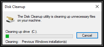 Screenshot of Disk Cleanup showing progress of Cleaning up drive C
