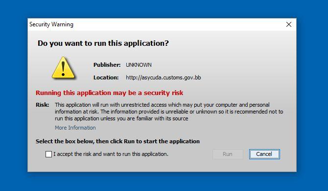 Java Security Warning Screen