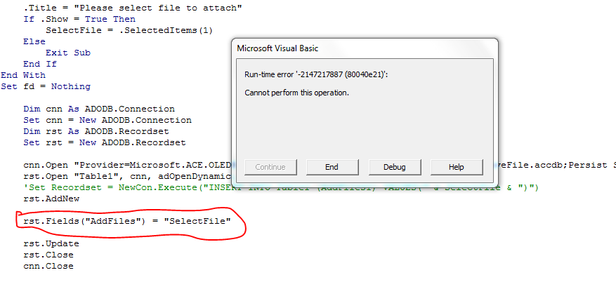 How to Insert file from Excel to Access Using VBA
