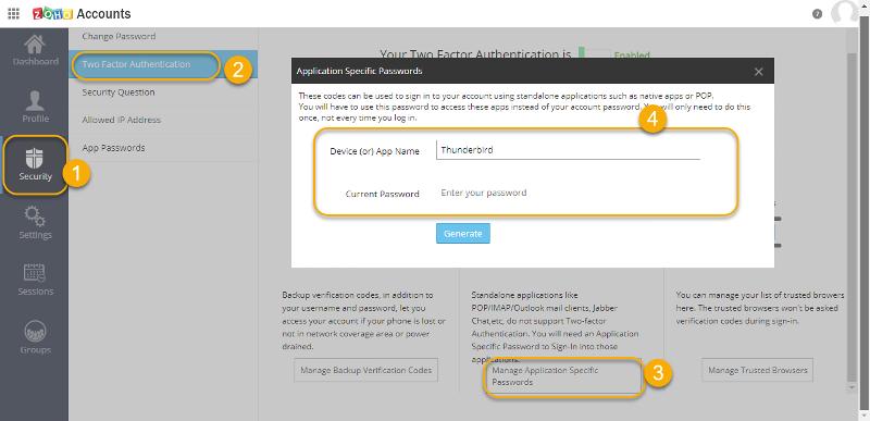 Generate App Specific Password