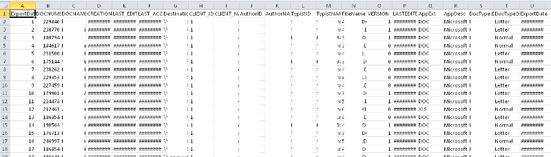 excel file with rows to delete
