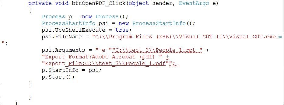 Convert VB Net Process Object Arguments to C#