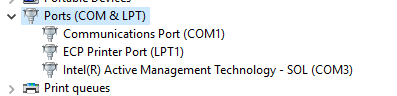 Com1 port in Device Manager