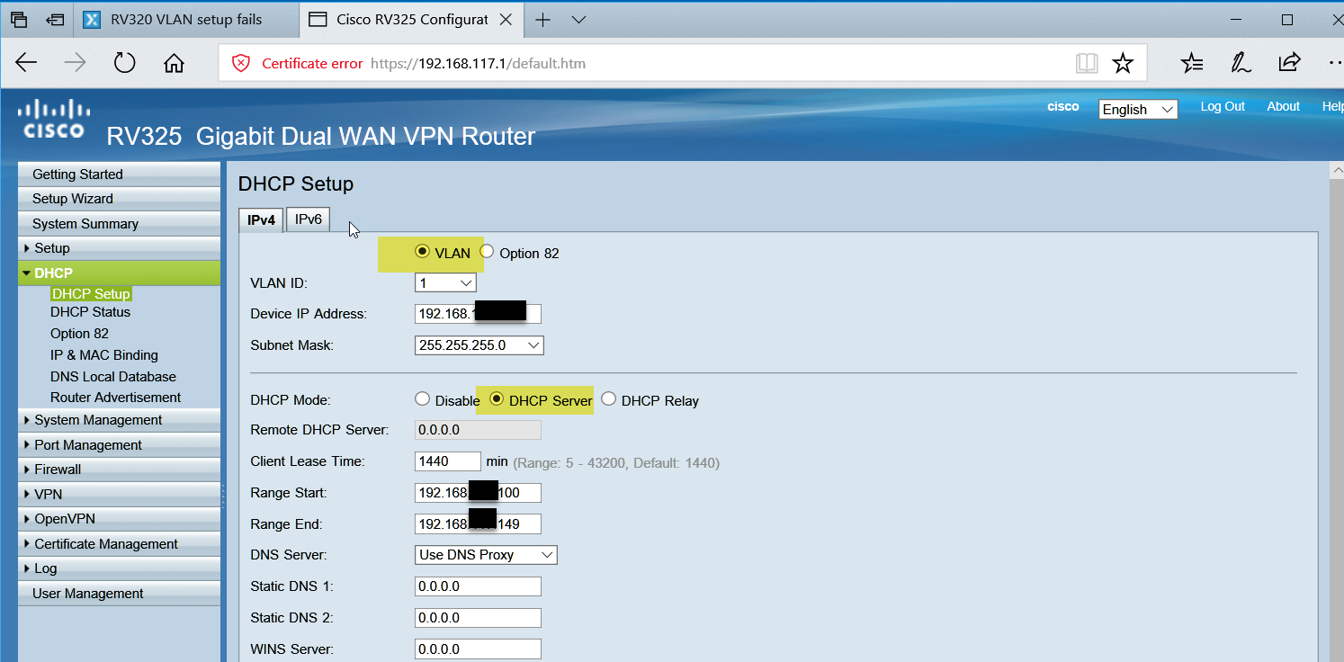 RV320 VLAN setup fails