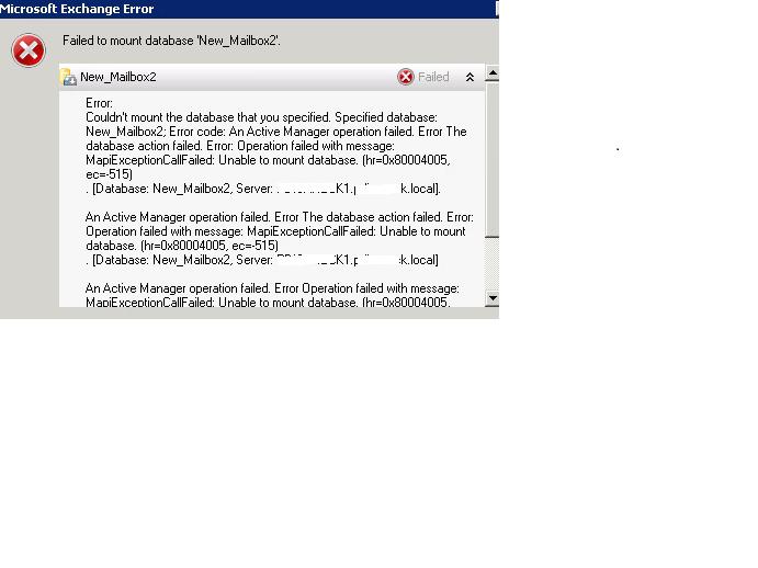 Database Mount Failure Error Message