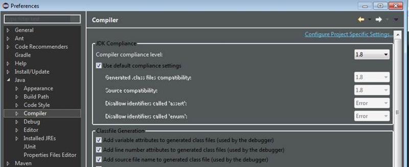 Compiler settings in eclipse