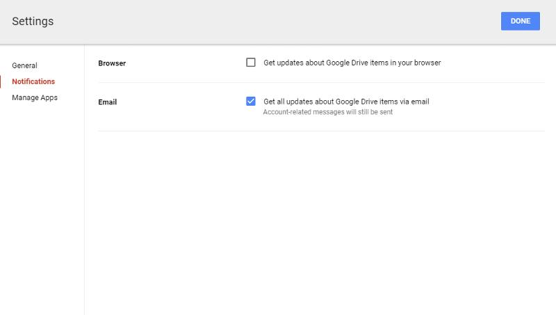 Google Drive Notifications Options