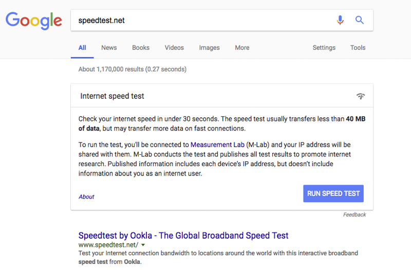 google ranks their own speed test over a branded term