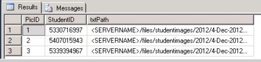 database grid showing fields