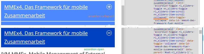 The opened/closed accordion with the CSS code changing