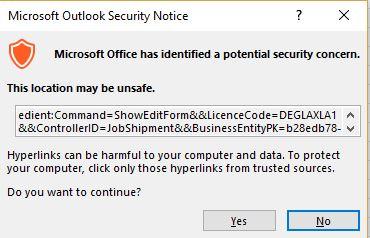 Outlook warning screen shot.