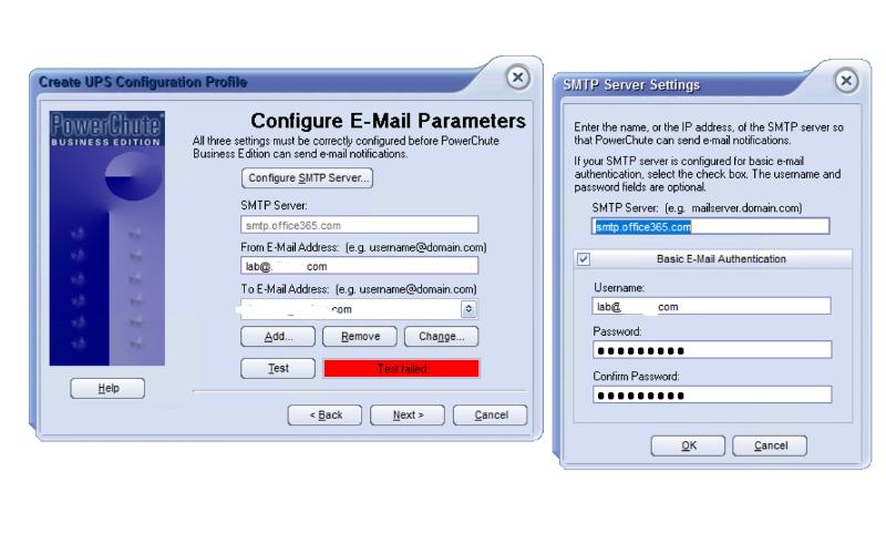 APC email server settings