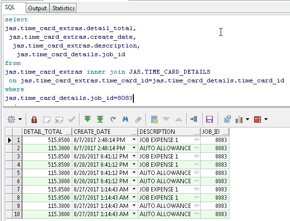 When you run a small query it shows a few rows....then you can click the green double arrow to see all rows..?