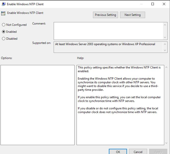 How to set up Server 2016 to an external NTP server?