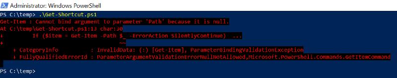 Get-Shortcut PowerShell error