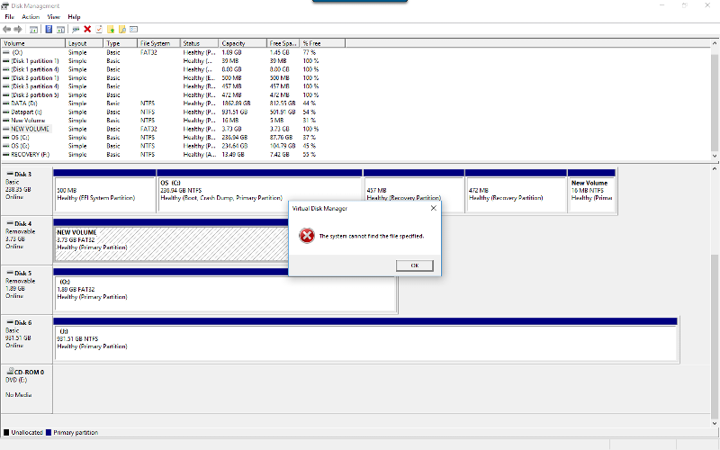 Disk manager running as Administrator encounters error