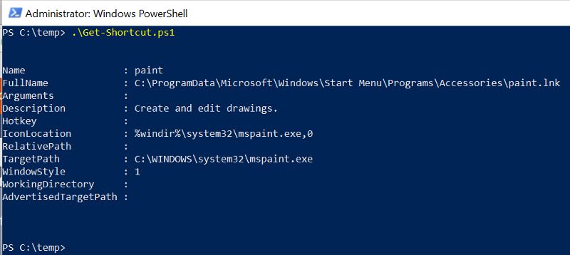PowerShell script results