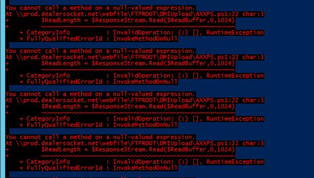 Ftp Powershell error