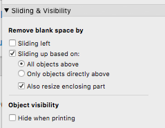Sliding & Visibility section of Inspector