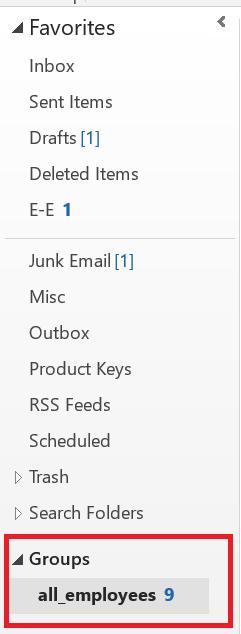 Outlook Groups folder
