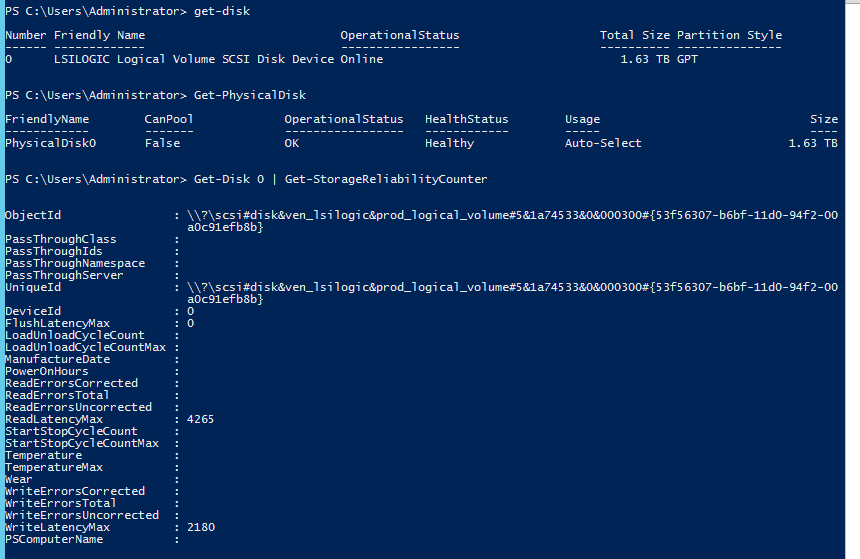 Get Disk status by CMD or Powershell
