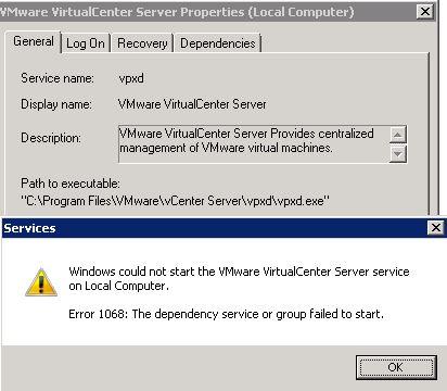 can not start vcenter server services - Error 1068