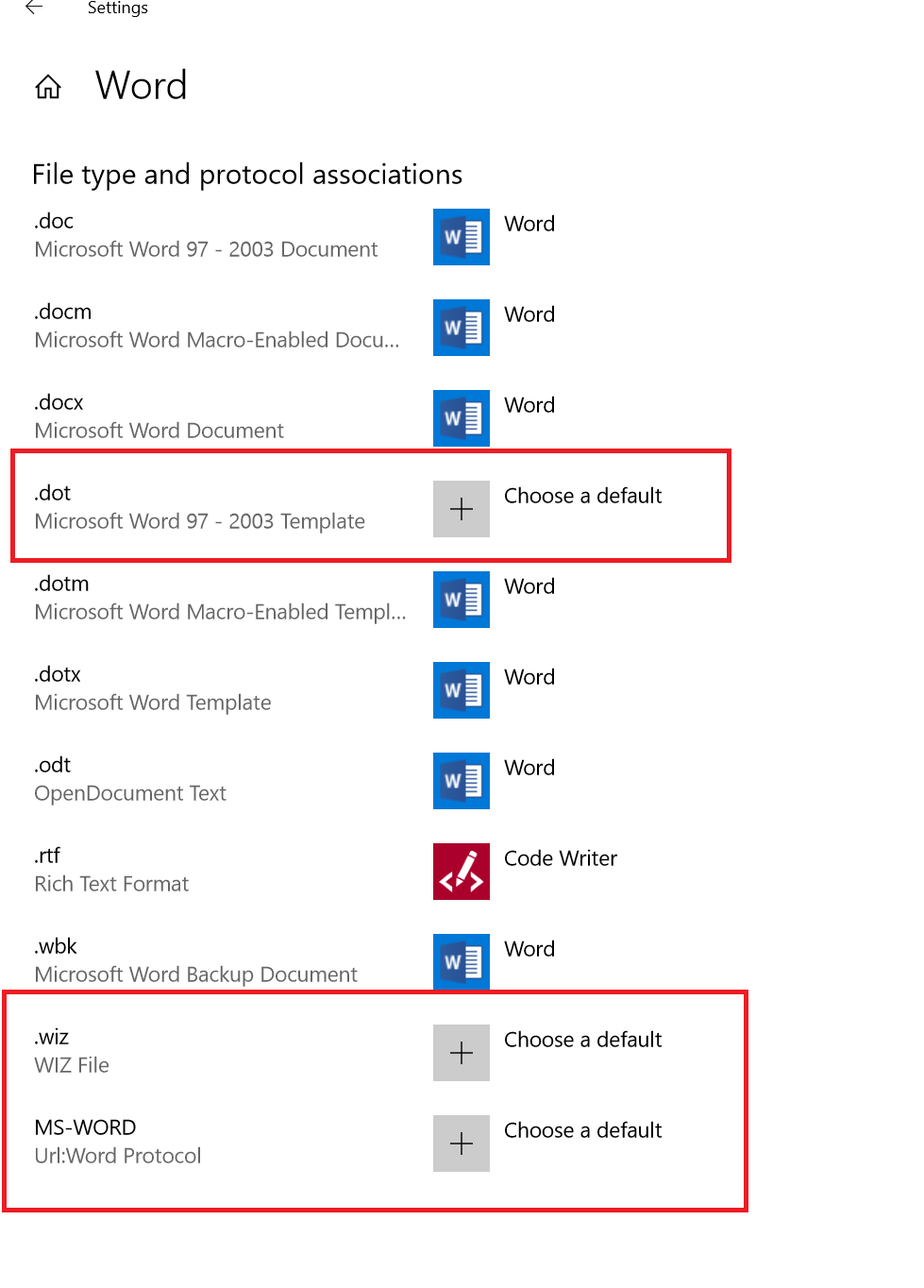 Change extension types to open with word 2016 word default file types maxwellsz