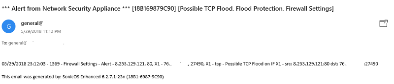 Alert from Network Security Appliance *** [18B169879C90] [Possible TCP Flood, Flood Protection, Firewall Settings]