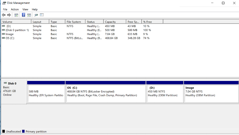 Screen shot of the disk manager
