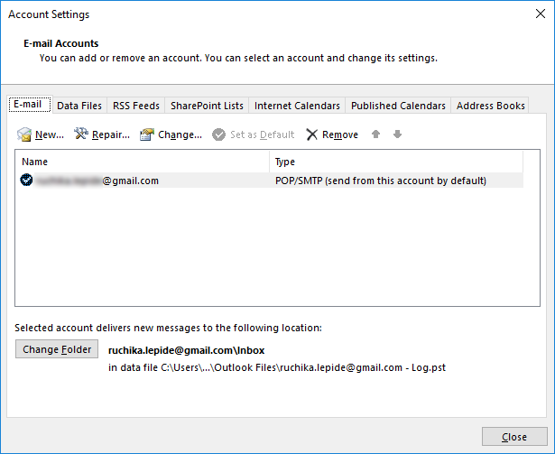 outlook how to change from pop to imap