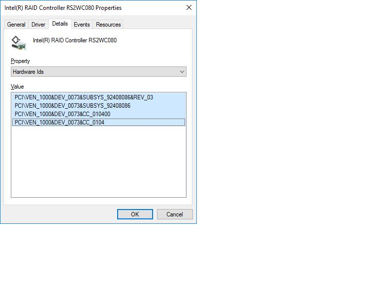 RAID controller Hardware IDs