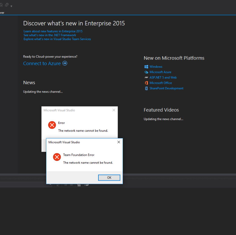 Visual Studio unable to find Team Foundation Server since
