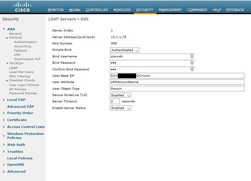 Cisco WLC LDAP configuration restrict user OUs