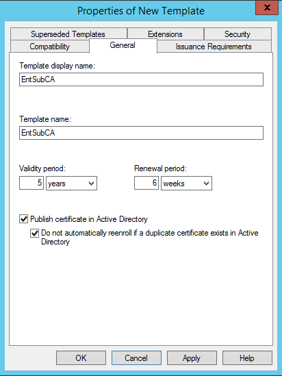 on the enterprise root ca right click subordinate ca template and click duplicate template - Certificate Template Renewal Period