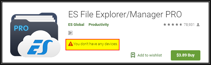 Error on Google Play Website