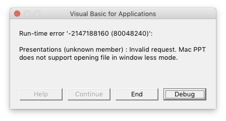 PowerPoint:mac 2016 windowless mode error