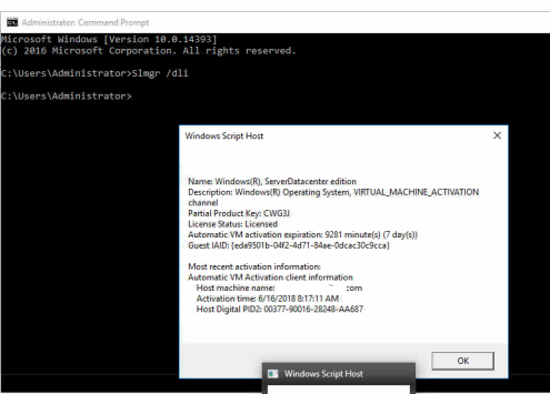 Serial number activation keys to activate Server 2016